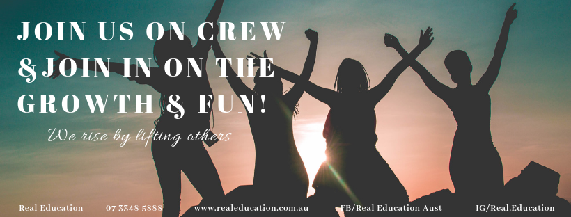 Join us on Crew and join in on the fun and growth!    All Real 2 Graduates are invited to Express their Interest to be selected to Crew on our upcoming Real 1 and/or Real 2 Workshops